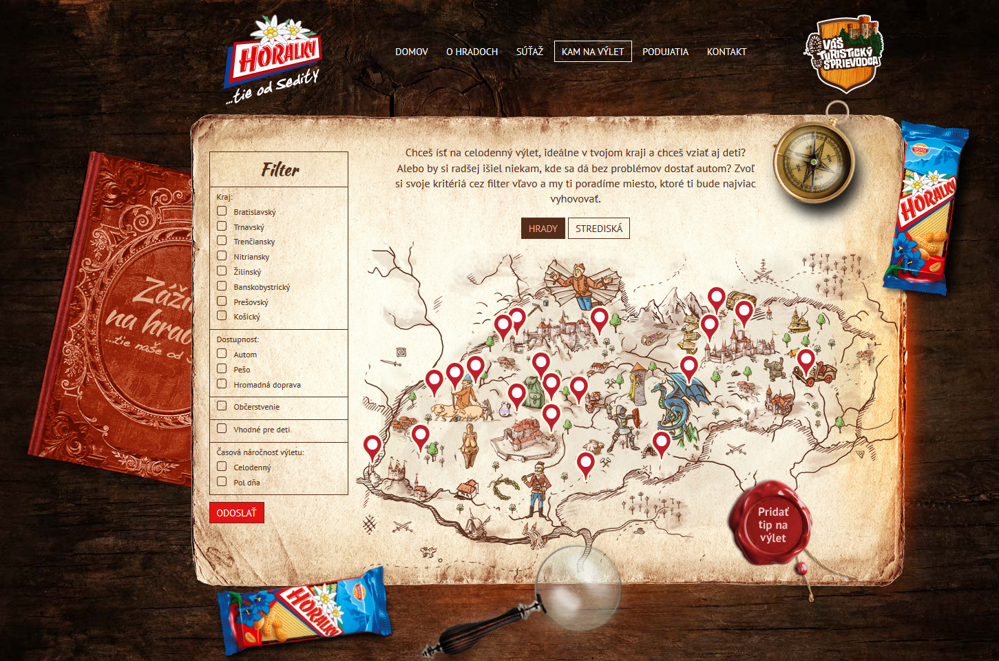 Tourist attractions on the map